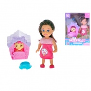 Panenka 12cm se štěňátkem 5cm a psí boudičkou v krabičce