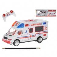 R/C ambulance 22cm 27MHz na baterie plná funkce se světlem a zvukem v krabičce