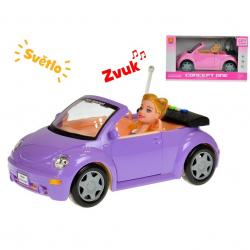 Auto kabriolet 28cm s bábikou 23cm na batérie so svetlom a zvukom 2barvy v krabičke