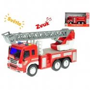 Auto hasičské 27cm 1:16 na setrvačník na baterie se světlem a zvukem 2druhy v krabičce