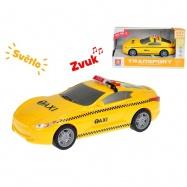 Auto taxi 16cm 1:28 na zotrvačník so svetlom a zvukom v krabičke