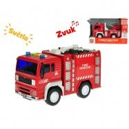 Auto hasičské 18cm 1:20 na setrvačník na baterie se světlem a zvukem 2druhy v krabičce