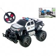 R/C auto terénní policie 18cm 1:24 27MHz plná funkce na baterie 2barvy v krabičce