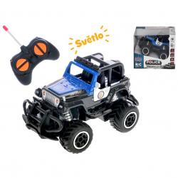 Auto terenowe policja 13cm zdalnie sterowane na baterie w pudełku. 2 wzory (czarny, niebieski)