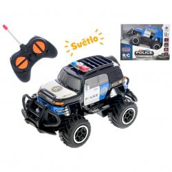R/C auto terénne polícia 14cm 1:43 27MHz plná funkcia na batérie so svetlom 2barvy v krabičke