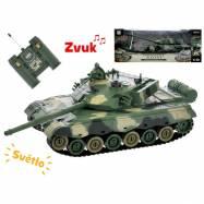 R / C tank 26cm 1:28 40MHz zeleno-hnedý na batéria plná funkcie 10kanálů so svetlom a zvukom v krabičke