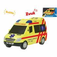 Auto ambulancie 18cm na zotrvačník na batérie so svetlom a zvukom v krabičke