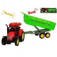 Traktor s vlečkou 35cm na setrvačník na baterie se světlem a zvukem 2druhy v krabičce