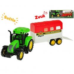 Traktor s prívesom pre kone 33cm na zotrvačník na batérie so svetlom a zvukom 2druhy v krabičke