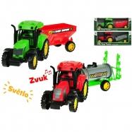 Traktor s vlečkou 27 cm na setrvačník na baterie se světlem a zvukem 2druhy v krabičce
