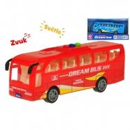 Autobus 16cm na setrvačník na baterie se světlem a zvukem 2barvy v krabičce
