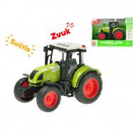 Traktor 18cm 1:16 na setrvačník na baterie se světlem a zvukem v krabičce