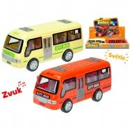 Autobus 18cm na setrvačník na baterie se světlem a zvukem 2barvy 6ks v DBX