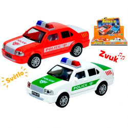 Auto polícia 17cm na zotrvačník na batérie so svetlom a zvukom 2barvy 6ks v DBX