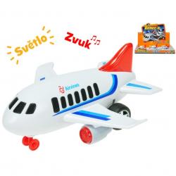 Letadlo dopravní 18cm na setrvačník na baterie se světlem a zvukem 6ks v DBX