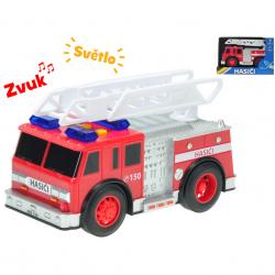 Auto hasiči polský design 18 cm na setrvačník na baterie se světlem a zvukem v krabičce