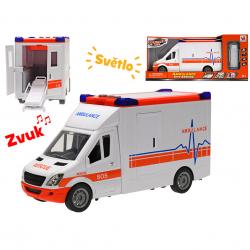 Auto ambulance 27cm na setrvačník na baterie se světlem a zvukem a doplňky v krabičce