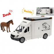 Auto prepravné 27cm na zotrvačník na batérie so svetlom a zvukom s koňom v krabičke