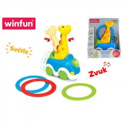 Auto žirafa 23cm narážacie s krúžkami na batérie so svetlom a zvukom 18m+ v krabičke