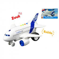 Letadlo dopravní 24cm na setrvačník na baterie se světlem a zvukem v krabičce