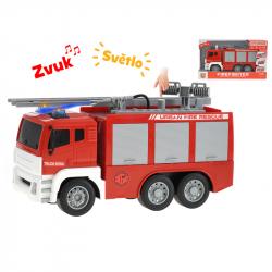 Auto hasiči 28cm 1:12 pohyblivé části na setrvačník na baterie se světlem a zvukem v krabičce