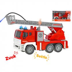 Auto hasiči 28cm stříkající vodu na setrvačník na baterie se světlem a zvukem v krabičce