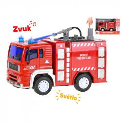 Auto hasiči 18cm 1:20 stříkající vodu na setrvačník na baterie se světlem a zvukem v krabičce