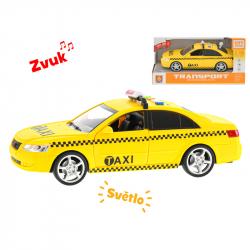 Auto taxi 24cm 1:16 na zotrvačník na batérie so svetlom a zvukom v krabičke