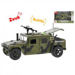Auto wojskowe plastikowe 23 cm ze światłem i dźwiękiem