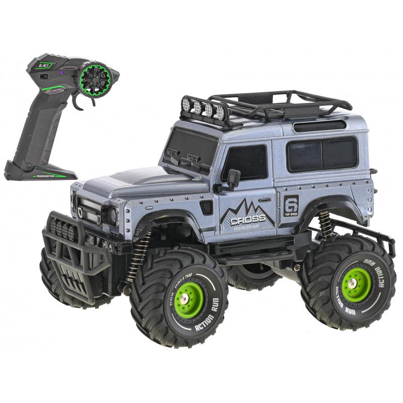 R/C auto terénní 23cm plná funkce na baterie se světlem 2.4GHz v krabičce