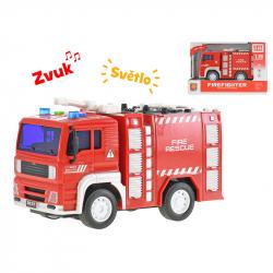 Auto hasičské se žebříkem 18 cm 1:20 na setrvačník na baterie se světlem a zvukem v krabičce