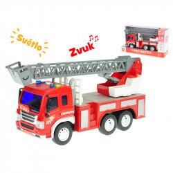Auto hasičské se žebříkem 27cm 1:16 na setrvačník na baterie se světlem a zvukem v krabičce