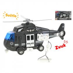 Helikoptéra 28cm na setrvačník na baterie se světlem a zvukem černá v krabičce