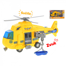 Helikoptéra 28cm na setrvačník na baterie se světlem a zvukem žlutá v krabičce