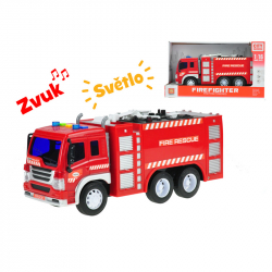 Auto hasičské s hadicí  27cm 1:16 na setrvačník na baterie se světlem a zvukem v krabičce