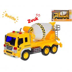 Auto stavební míchačka 27cm 1:16 na setrvačník na baterie se světlem a zvukem v krabičce