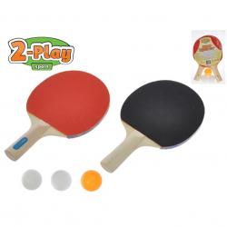 Sada na stolní tenis 2-Play pálky dřevěné 25cm 2ks + míčky 3ks se síťkou v blistru