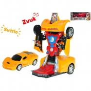 Auto robot 22cm narážecí na baterie se světlem a zvukem 2 barvy v krabičce