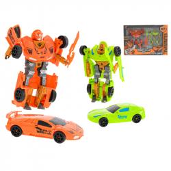 Auto/robot 15-19cm oranžové/zelené s doplnkami 2ks v krabičke