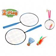 Badmintonové rakety 44x22cm 2ks s košíčky 2ks 2barvy v síťce