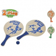 Plážová sada pálky 2-Play dřevěné 2ks 38x24cm s míčkem 3barvy v síťce