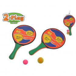 Catch ball / plážové pálky 2-Play 2v1 2ks 34x20cm s loptičkami v sieťke