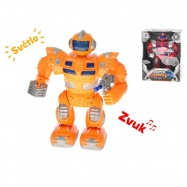 Robot bojovník 25cm na batérie chodiace so svetlom a zvukom 2barvy v krabičke