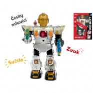Robot česky mluvící 36cm chodící na baterie se světlem a zvukem v krabičce