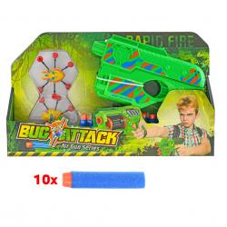 Pistolet Bug's Attack 21 cm z wkładami piankowymi i tarczami w pudełku