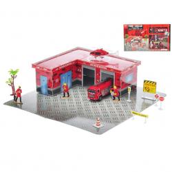 Hasičská puzzle stanica 34ks - vozidlá 2ks kov 9,5-12cm voľný chod s doplnkami v krabičke