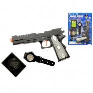 Sada policejní - pistole 20cm klapací + 2 doplňky na kartě