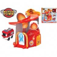 Fire Station Motor Town 23 x 27 cm + samochód 6,5 cm 18 m + w pudełku
