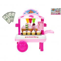 Vozík zmrzlinový pojízdný 23x33x20cm s doplňky v krabičce