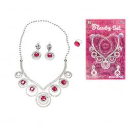 Sada krásy náhrdelník ve tvaru srdce s naušnicemi a prstenem na kartě